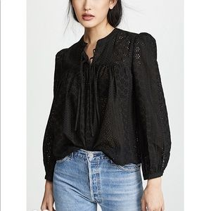 Madewell Tie Eyelet Peasant Top XS NWT